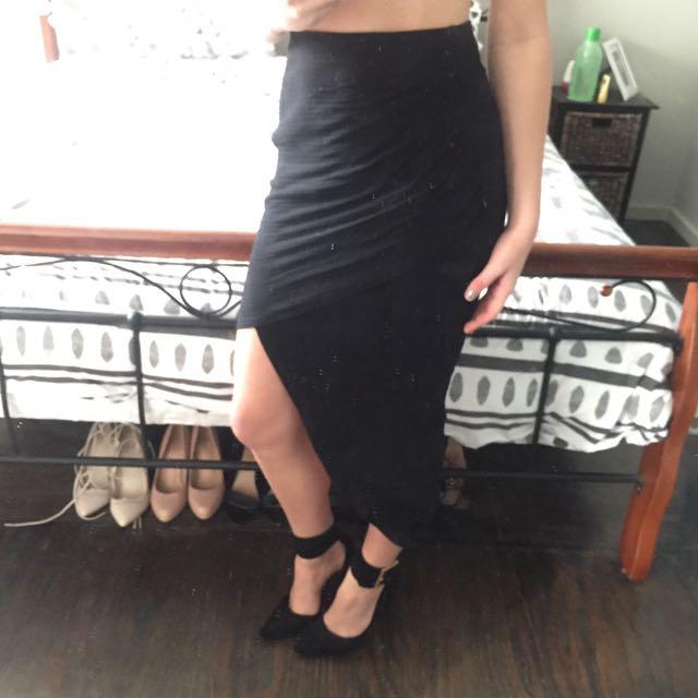Black Asymmetrical Pencil Skirt