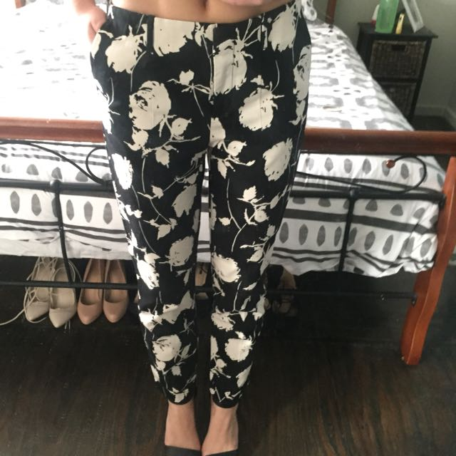 Black Smart Pants With White Floral Print