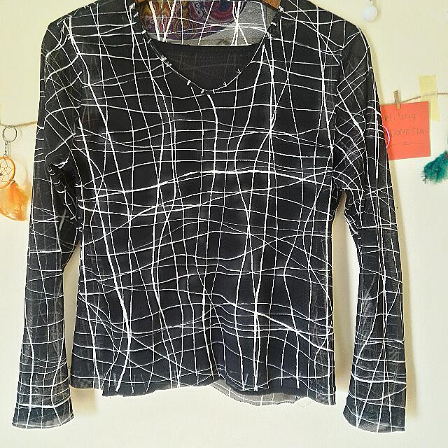 Blouse Black Abstract
