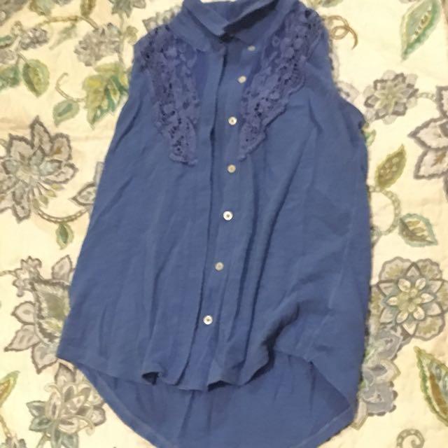 Blue button up sleeveless shirt