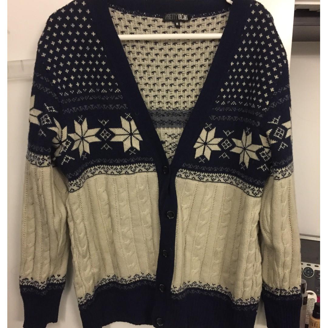Blue/Cream Winter Cardigan size M