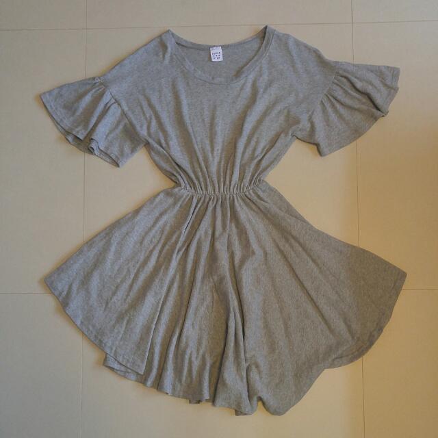 f8da6ff1ddf BNWOT! Free Size Grey Flutter Sleeve T- Shirt Dress From Korea ...