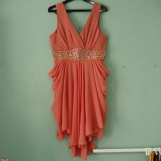 Coral V Neck Gown