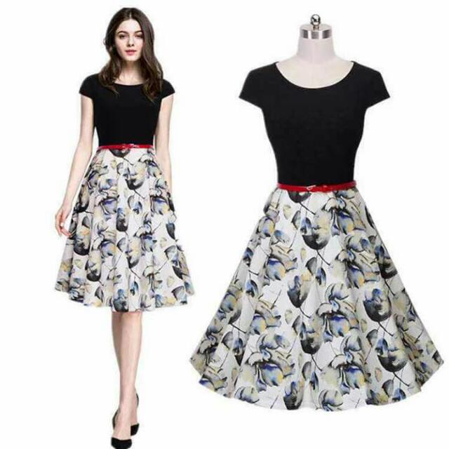 SALE! Dress With Belt ( Printed Skirt )