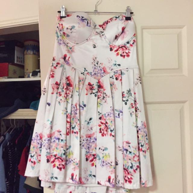 Flower Strapless Dress