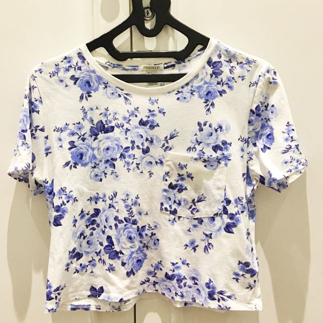 Forever21 Blue Floral Crop Top Size S