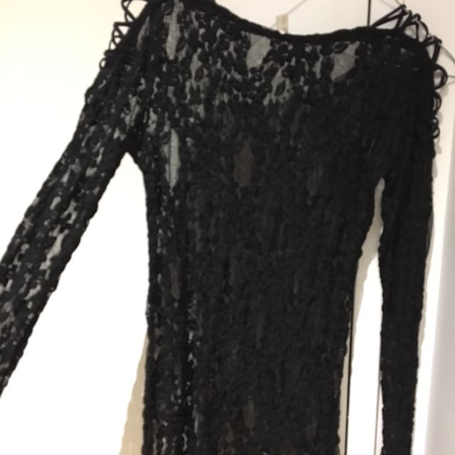 Free People Lace Top With Shoulder Detail