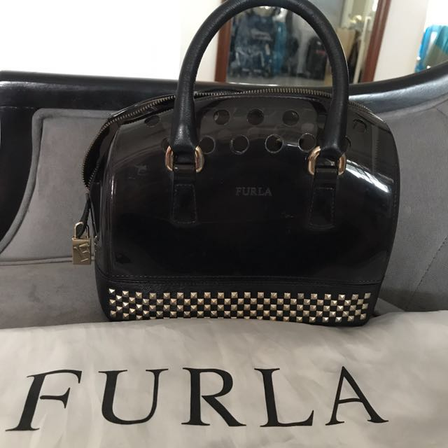 Furla Mini Black Candy Bowling Bag With Studs (limited Edition)