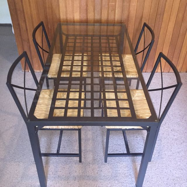 Great Deal! Stylish Modern Glass Dining Table With 4 Chairs!!