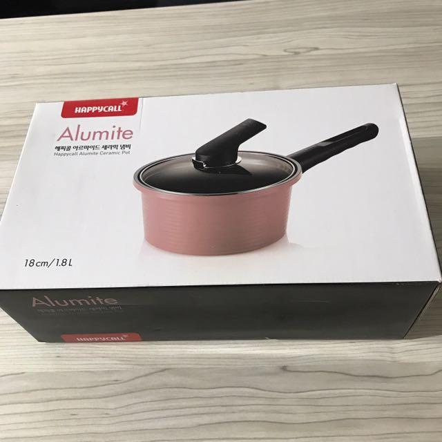 Happy Call Alumite Ceramic Pot 18cm Pink Color