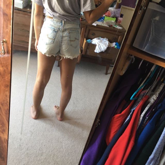 High Waisted Light Wash Jean Shorts