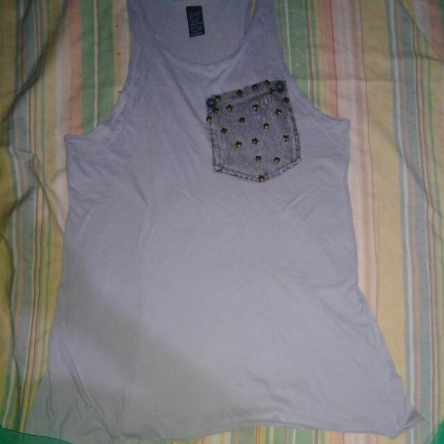 Zara Studded Muscle Shirt Grey