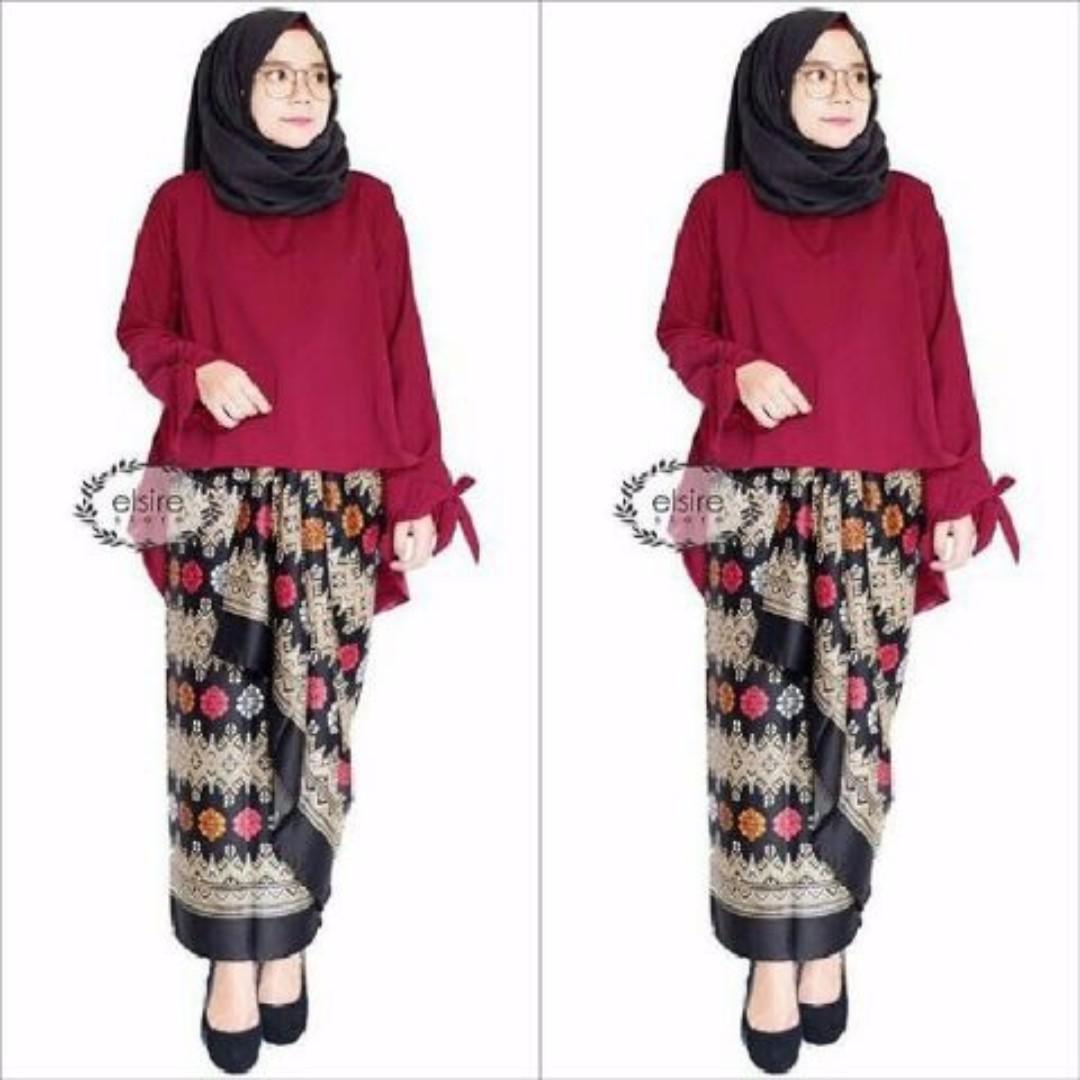 Jual Setelan Kebaya Muslim Modern Red D14 Murah Olshop Fashion