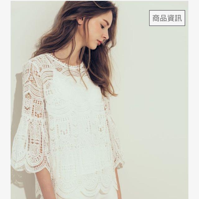 meierq 優雅兩件式鏤空蕾絲上衣