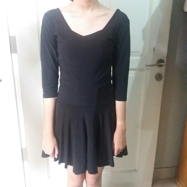 Mini Black Dress V neck