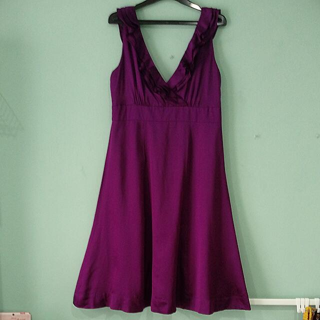Moonsoon Purple V Neck Gown