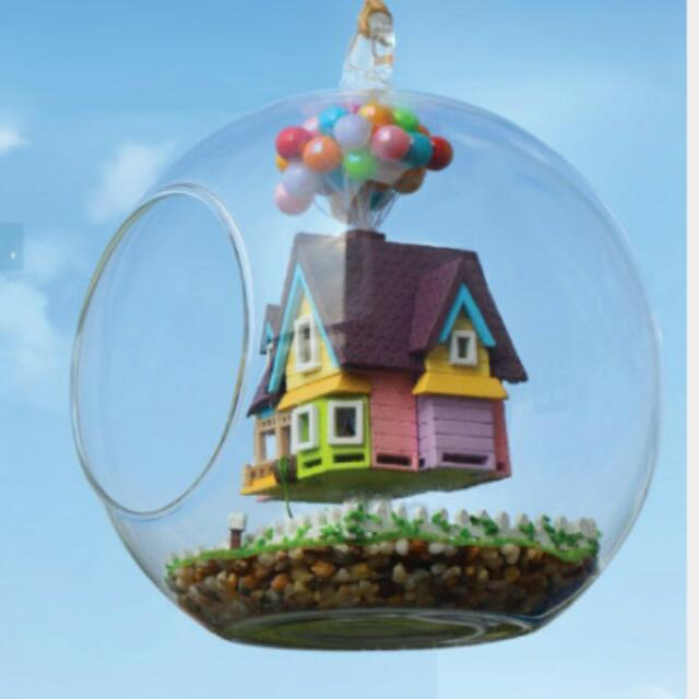 movie up themed flying balloon house terrarium furniture home