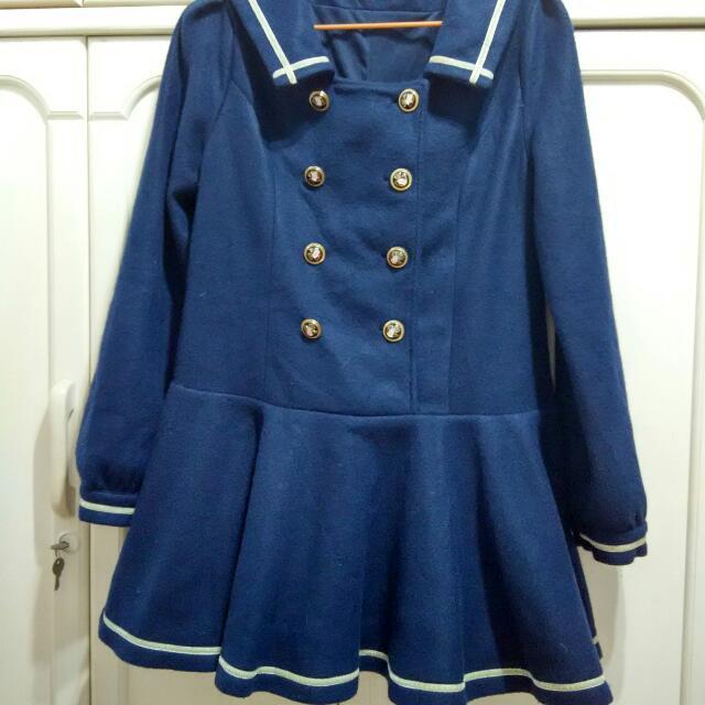 Mussa 專櫃 長版 長袖 洋裝 外套 海軍風 學院風 水手服