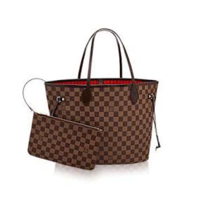 Neverfull MM Leather Bag With Pouch