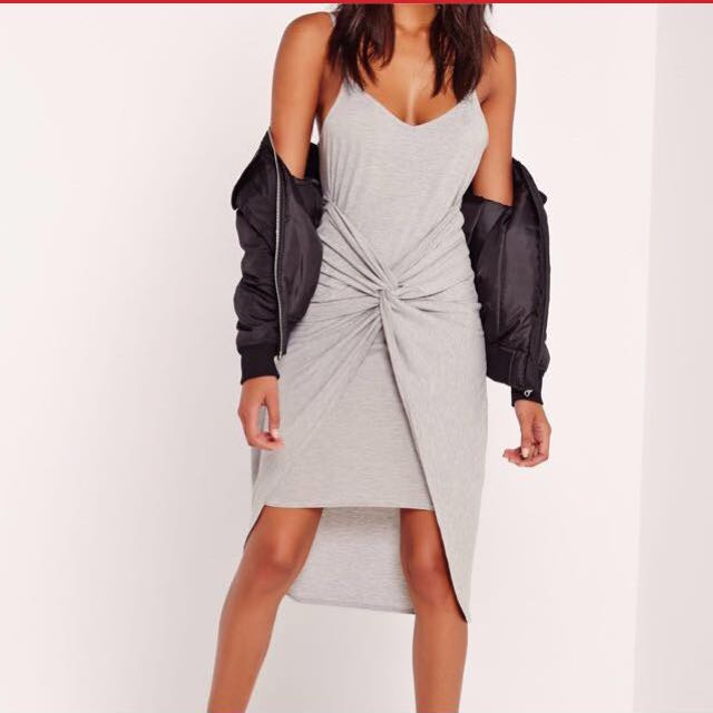 NEW Missguided Twisted Grey Dress
