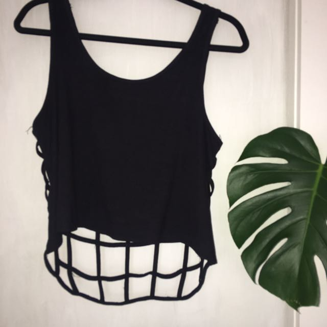 Open Caged Back Crop Top