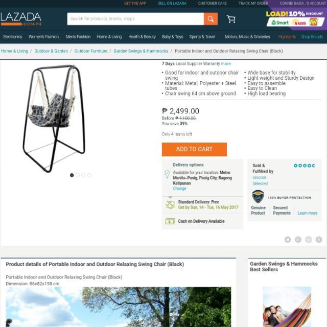 Portable Indoor or Outdoor Swing