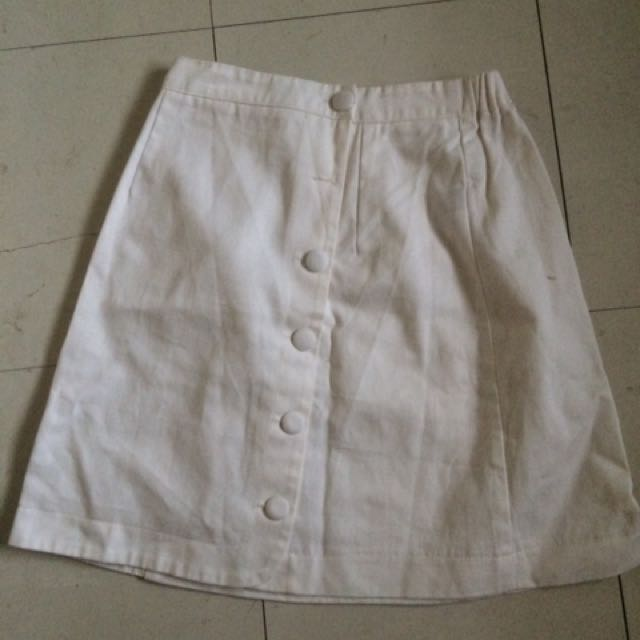 Preloved white Denim Skirt (High Waist)