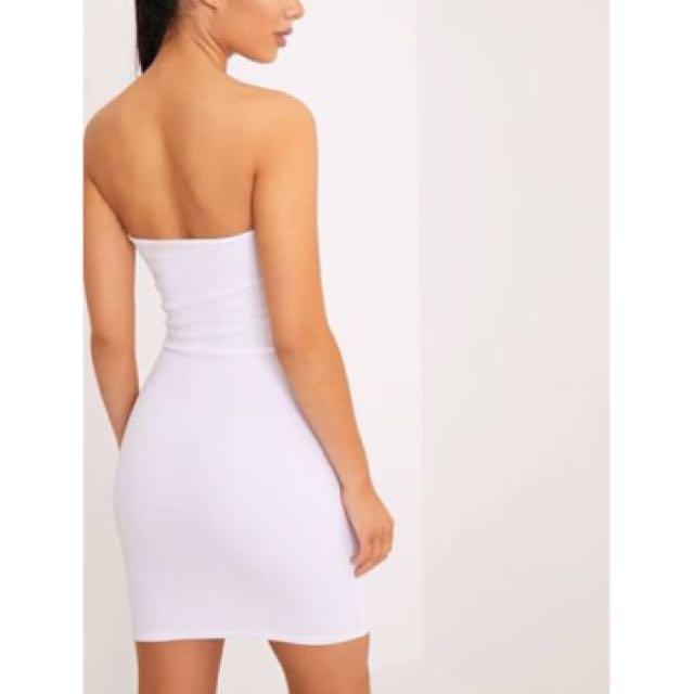 Pretty Little Things White Bandeau Bodycon Dress