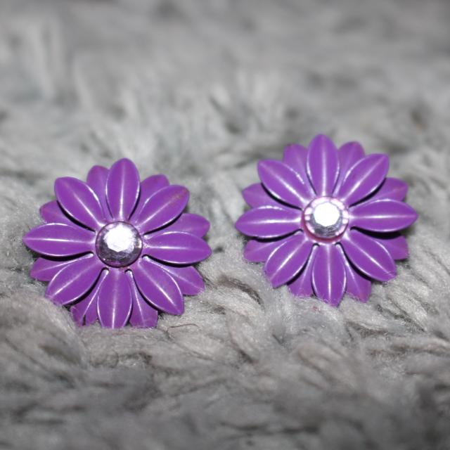Purple Flower Stud Earing