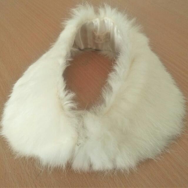 Real White Rabbit Fur Collar