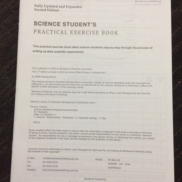 Science Student's Practice Exercise Book