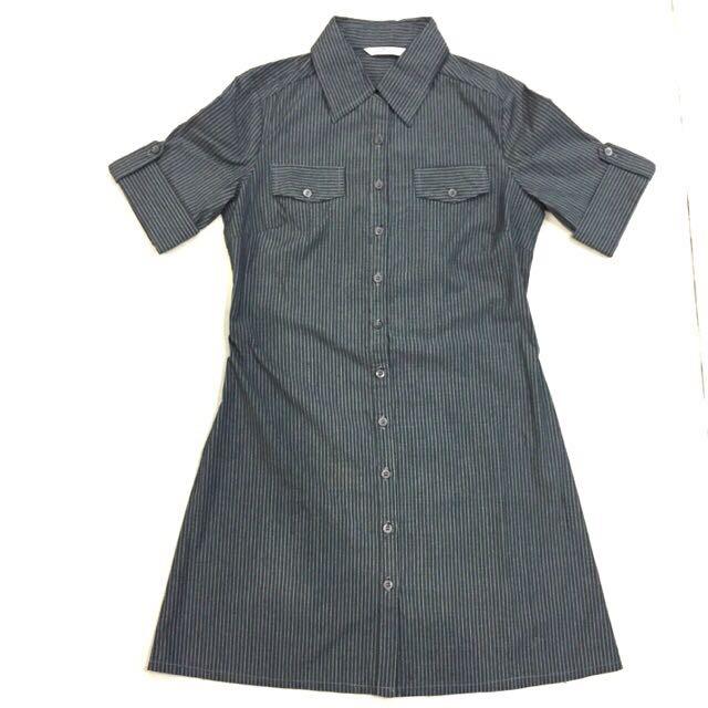 shirt dress grey stripe osmose