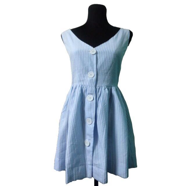 Striped Button-down Mini Dress