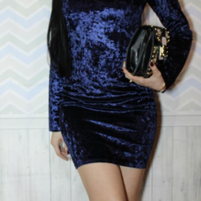 #thecafe Navy Velvet Dress