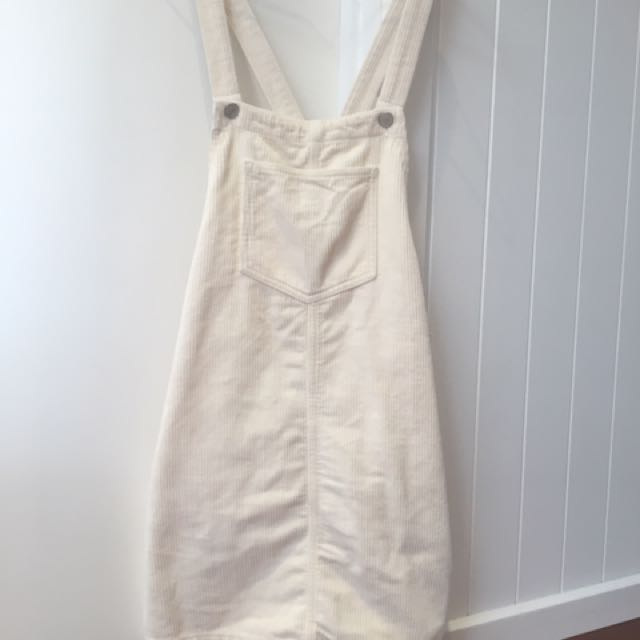 Topshop Cream Corduroy Pinafore Dress