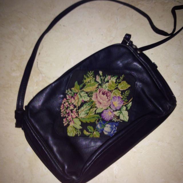 REPRICE! Vintage Black Floral Cross Stitch Sling Bag