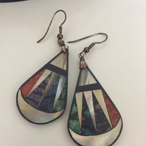 Vintage shell inlay earrings