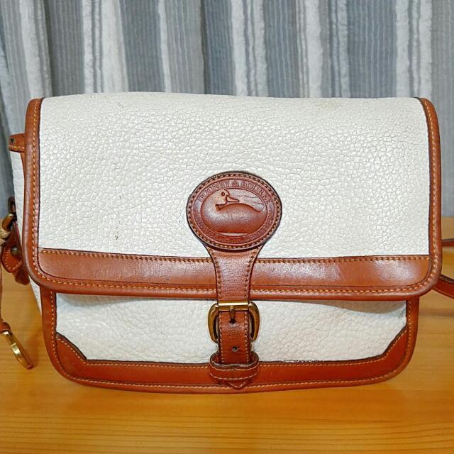 Vintage古著dooney&bourke鴨子牌乳白色真皮小方包