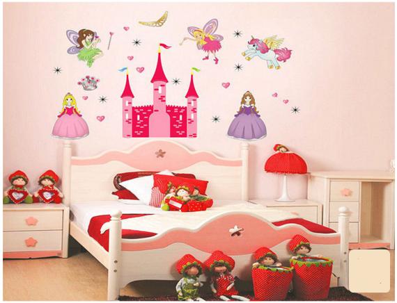 wallpaper wall paper sticker tembok princess unicorn kamar anak