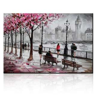 Streetscape Time Travel Cityscape Handpainted Canvas Oil Painting