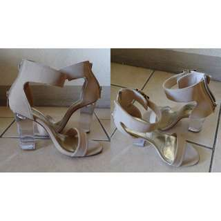 Nude suede lucite heeled sandals
