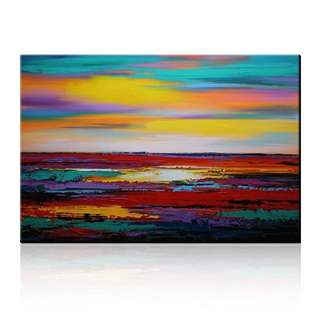 Beautiful Sunrise Seascape Abstract Colorful Handpainted Canvas Oil Painting
