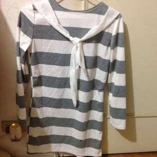 灰白條紋洋裝 #一百元洋裝