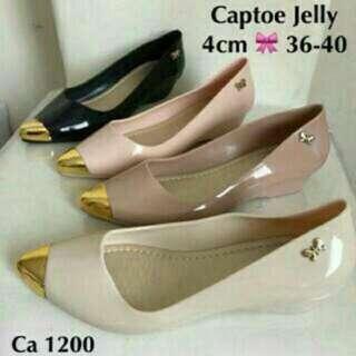 Captoe Jelly - Sepatu Jelly Wanita - Jellyshoes Lancip Emas - Sepatu Kantor - Flatshoes Kerja