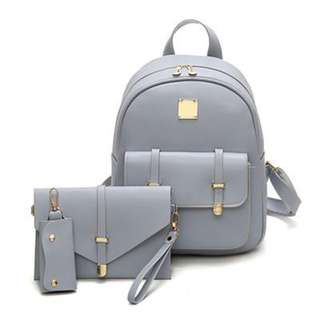 3 set Pu Leather Backpack for Women