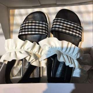 韓國花邊格紋涼鞋38號