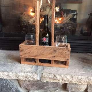 Rustic Reclaimed Wood Wine Carrier