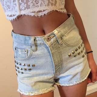 Denim Studded Shorts