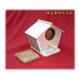 ==臻品寵物生活館==單孔木屋巢箱鳥屋鐵條包框防啃咬含背掛鉤實木夾板製可水洗花栗鼠小飛鼠蜜袋鼯.鸚鵡文鳥