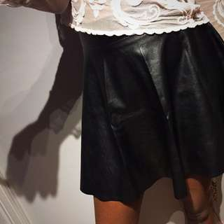 Leatherette Black Skater Skirt